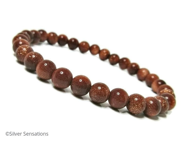 sparkly brown goldstone sandstone beaded bracelet